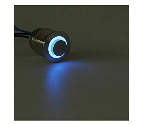 ChaRLes 12V 16mm Métal Momentané LED Bouton Poussoir Interrupteur De Puissance Klaxon Moteur Démarrer Kill Switch - Bleu