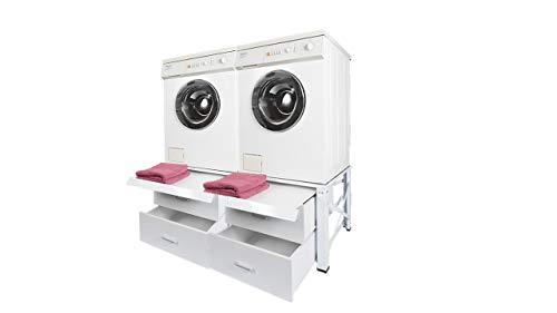 Doppel Untergestell für Waschmaschine und Trockner Sockel Podest Unterbau NEU MIT 2 Schubladen bei Amazon