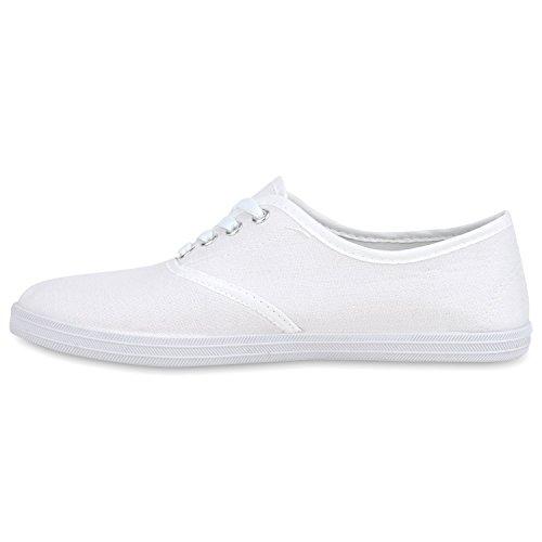 Herren Damen Sneakers Low Freizeit Sportliche Schnürer Komfortschuh Weiß