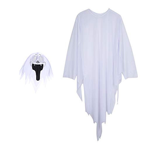 P PRETTYIA Weiß Geist Kostüm Kinderkostüm Erwachsene Kostüm Cosplay für jede Anlässe (Umhang + Maske) - 120 cm (Geister Kostüme)