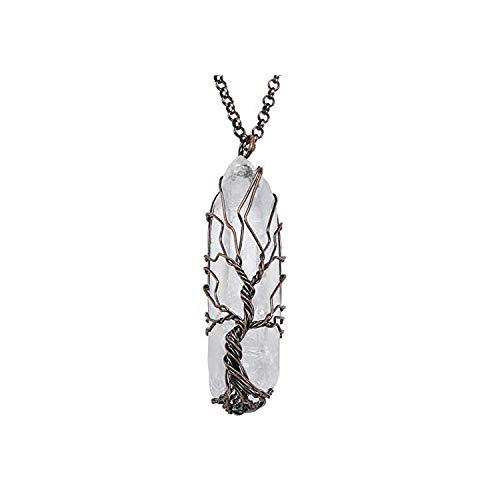 Collana con ciondolo a forma di albero della vita, 7 cristalli naturali e arcobaleno, per donne e uomini e lega, colore: p003
