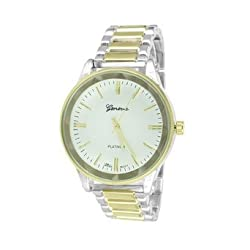 Mens 2 Tone Watch Geneva White Dial Water Resistant Party Wear Analog Round Face