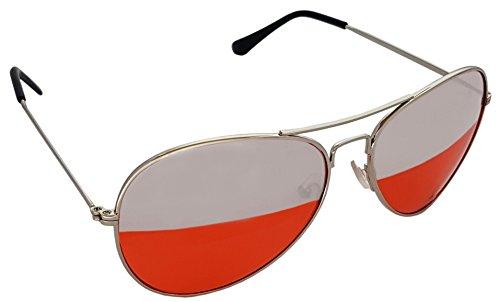 Occhiali da aviatore a doppia lente rossa ed argento da sole, telaio tinta rosso argento unisex