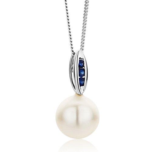 Miore Damen-Halskette 9 Karat 375 Weißgold Süßwasser-Zuchtperle und Saphir Anhänger 45cm (Herren Blau Saphir Anhänger)