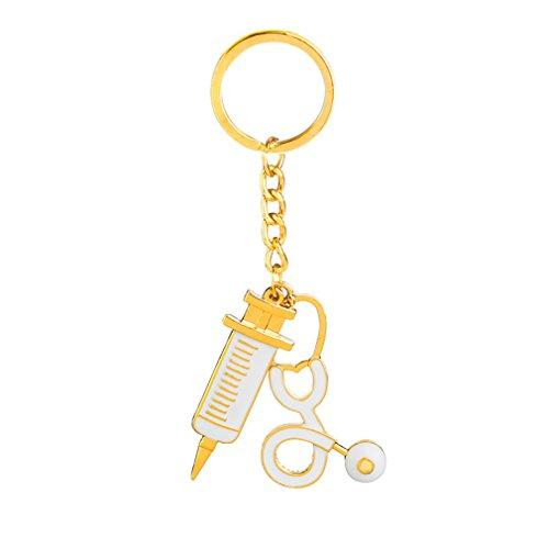 L shop Fashion Golden Ton Medical Tools Stethoskop Spritze Anhänger Halskette für Krankenschwester Ärzte Geschenke