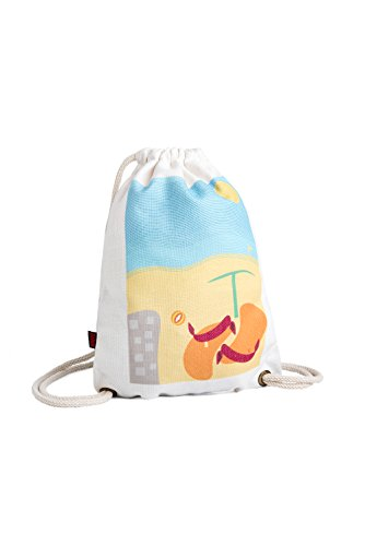 Natural Cotton Canvas Drawstring Bag, Eco-Friendly, Reusable & Washable Cinch sack daypack backpack 13'' X 17'' Art printing with inner pocket comes in a beautiful gift box. (Beach) (Tote Bag Cotton Beach)
