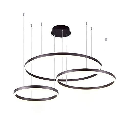 95W LED Runde Hängeleuchte Dimmbar Fernbedienung 3 Ringe Pendelleuchte Φ40+60+80cm Schwarz Modern Hängelampe Metall Acryl Pendellampe Esszimmer Lampe Wohnzimmer Leuchte - Runde-tisch-kronleuchter