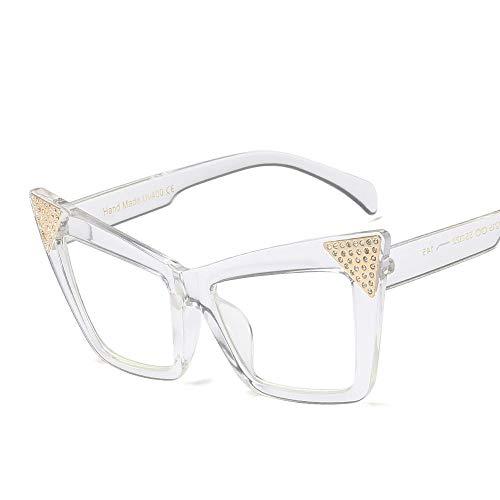 Junjiagao Mode Cat Eye Sonnenbrillen mit Schmetterling Strass Frauen Ultra leicht (Farbe : Transparent White)