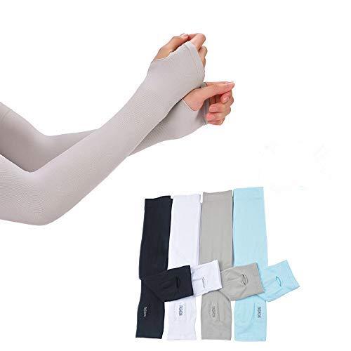 Sunland UV-Schutz für die Arm Frauen Herren Schnell Trocknen Sunblock Ärmel kühlen Arm Ärmel Für Outdoor Sports , Radfahren , Fahren , Laufen 4Paar, Black+Grey+White+Blue