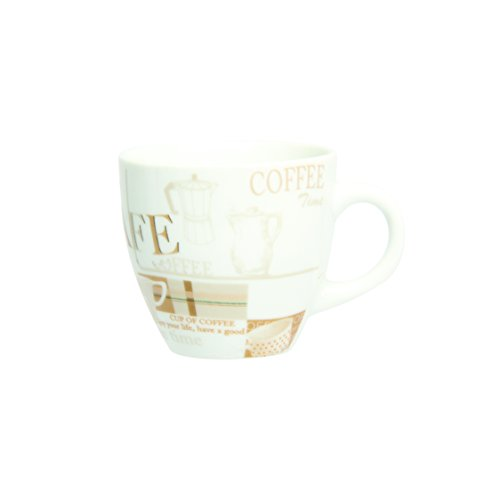 Novastyl 5186071 Lot de 6 Tasses à Café Coffee Break Porcelaine Beige 12 cl