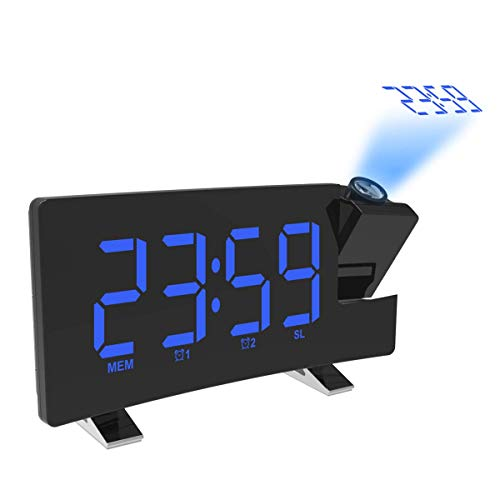 mayizhong Projektion Alarm Clock mit USB-Ladefunktion AM/FM Radio, Akku Backup, Auto Time Set, Dual 3,5 mm Audio Input, Blue (Electrohome Clock Radio)