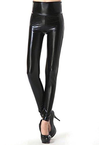 JNTworld Damen Frauen sexy Wet-Look glänzen/ glänzend Enge flüssige metallische faux Leder mit hoher Taille Bund Leggings Jeggings Petite Hoch , S , Glänzend Schwarz