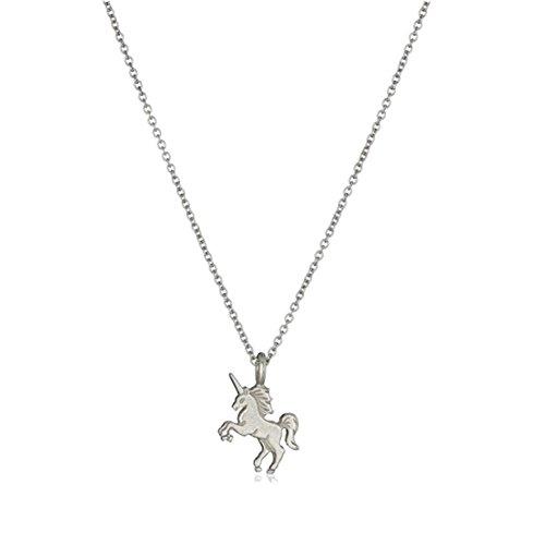 Outflower Silver Halskette Choker Kette mit Anhänger Einhorn Muster Halsband Ketten Strickjacke-Kette Damen (Einhorn-strickjacke)