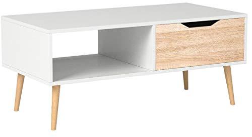 Homfa Table de Salon Scandinave Table Basse Café Bois pour Bureau TV 100x49.5x43cm (Blanc)