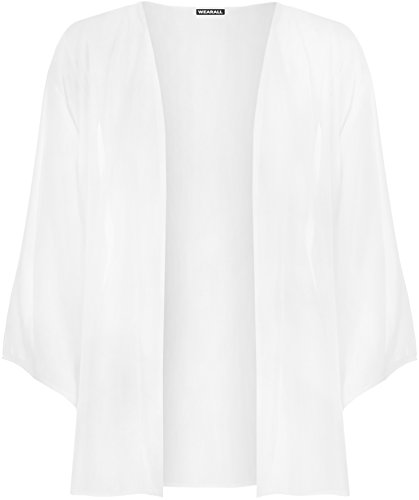 WearAll - Plus Taille 3/4 manches Kimono Cardigan Haut - Cardigans - Femmes - 44 à 54 Blanc