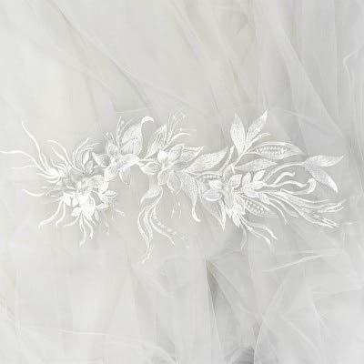 Lace Crafts - graue 3D-Blumen-Spitzen-Applikation, graue Braut-Spitzen-Applikation für Tanz-Kostüme, Brautkleid-Zubehör elfenbeinfarben (Applikationen Für Tanz Kostüm)