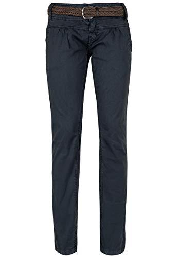 Urban Surface Damen Chino-Hose I Elegante Stoffhose mit Flecht-Gürtel aus bequemer Baumwolle Blue S