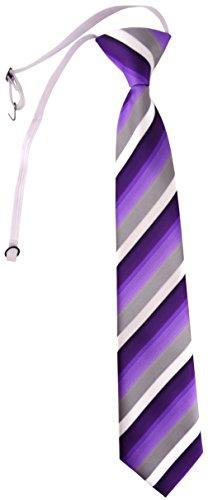 TigerTie Security Sicherheits Krawatte in lila violett grau weiss gestreift - vorgebunden mit Gummizug
