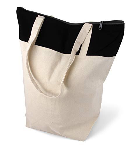 stylische geräumige Tragetasche mit Reißverschluss Baumwolltasche Stofftasche Shopper Handtasche mit großem Boden 1 Tasche Cottonbagjoe