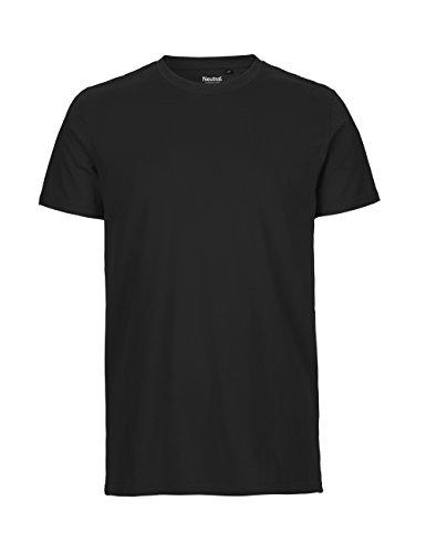 -Neutral- T-Shirt, 100{2e29b8be195f17dcb74b056cee6c79c736a563f1ee687e4879efa25e611338fc} Bio-Baumwolle. Fairtrade, Oeko-Tex und Ecolabel Zertifiziert, Textilfarbe: schwarz, Gr.: XL