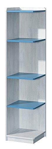 Preisvergleich Produktbild Eckregal NUKI Bücherregal Regal Standregal Kinderzimmer Babyzimmer (Norwegische Kiefer - Hellblau)