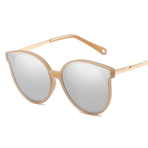Metallrahmen-Art- und Weiseklassiker-Weinlese-Art-Katzenauge-runder Spiegel UV400 Objektiv-Unisex polarisierte Sonnenbrille Sonnenbrillen und flacher Spiegel ( Color : Gold , Size : Kostenlos )