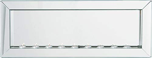 Kare Big Beauty Candle Light, 72830, moderner, rechteckiger Design Wandspiegel mit 9 Teelichthaltern und verspiegeltem Rahmen (H/B/T) 35x91x9cm