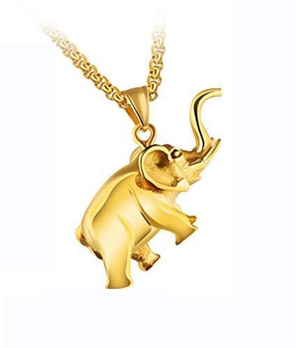 Epinki Edelstahl Gold Baby Elefant Anhänger Halskette Herren Kette Kettenlänge 55CM