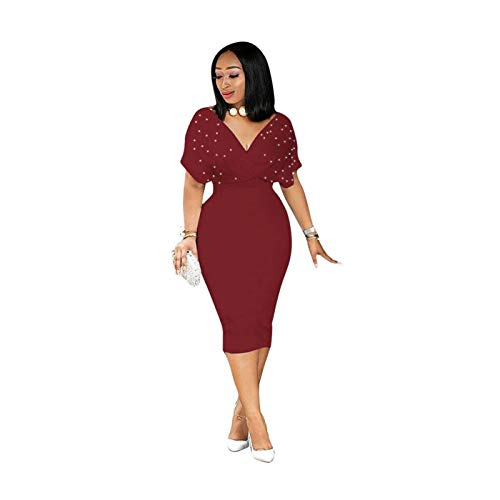 9e345f3d02ef Women V Neck Beaded Solid Color Bodycon Party Evening Club Cocktail Dress  Burgundy M