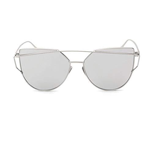 Leluo Damenmode Polarisierte Sonnenbrillen Verspiegelte Polarisierte Brillen Große Sonnenbrillen Mädchenbrillen (Color : Silver)
