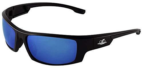 Bullhead Safety Eyewear BH969 Dorado, Matte Black Frame, Full Blue Revo Lens, Black TPR Nose and Temple (1 Pair) by Bullhead Safety Eyewear