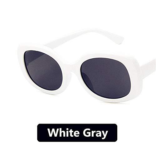 KEEP Sonnenbrillen Klassische Ovale Sonnenbrille Männer Luxusmarke Brillen Für Frauen Retro Wiz Khalifa Stil Runde Brille Oculos De Sol Feminino, Weiß Grau