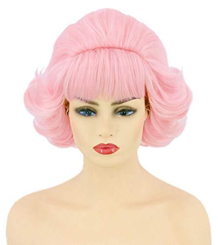 Jahre Kostüm Girl 50er - Topcosplay 50er Jahre Perücke Damen, Rosa Pin Up Girl Perücke kurz mit Pony Bienenstock Perücke für Kostüm Karneval Cosplay Halloween