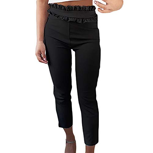 Anglewolf Women Casual Solid High-Waist Regular Ruffles Ankle-Length Pants Trousers Pleated Elegant Capris Sweatpants Basic Long Brief Straight Waist Thin Jumpsuit Leggings Playsuits
