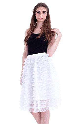 Honeystore Damen's Vintage Petticoat Unterrock Reifrock für Hochzeit Brautkleid Retro Prinzessin Tutu Rock Tüllrock Faltenrock One Size Weiß