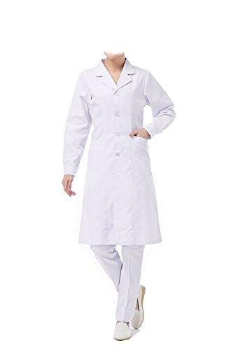 WDF laborkittel kittel medizinische kittel weiß arztkittel weiße damen langärmelige lange unterabschnitt button handschellen (XXL, dünn)
