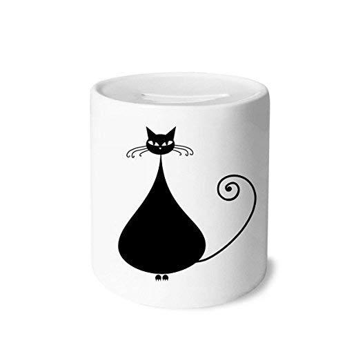 Katzen-Liebhaber Halloween-Tier-Kunst-Silhouette-Geld-Kasten Sparkassen Keramik Münzfach 3.5 Zoll in Height, 3.1 Zoll in Duruchmesser Mehrfarbig ()