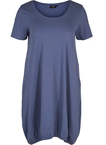 Zizzi Damen Weiches Kleid Knielang Kurzarm Basic Jerseykleid Große Größen 42-56