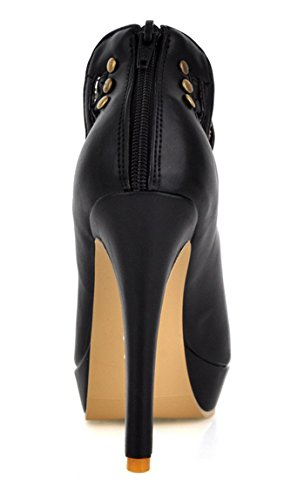 YE Frauen Peep Toe High Heels Stiletto Plattform Leder Nieten Demen Sommer Ankle Boots Sandalen Schuhe Schwarz