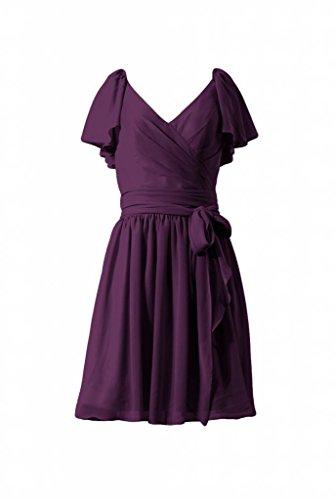 daisyformals robe courte de Vintage Modeste robe de demoiselle d'honneur en mousseline (bm1662) Violet - #2-Byzantium
