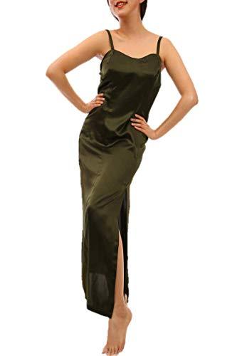 Damen Satin Lang Luxus Nachtwäsche Sexy Nachtkleid Nachthemd Negligee Schlafanzug Pyjamas Sleepwear Sleepshirt Nightdress (L, Grün) - Luxus Nachtwäsche