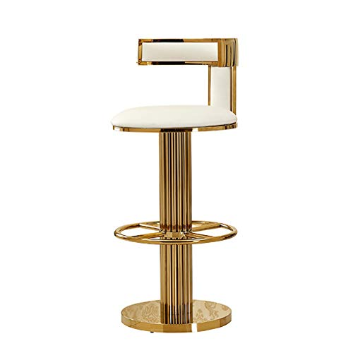 Moderne Theke Höhe Hocker (Lxn Goldene Theke Höhe Hocker Stühle, Moderne Einfachheit Stil Edelstahl Barhocker, Küche mit Rückenlehne Hocker Gepolsterter Sitz (1- PCS))