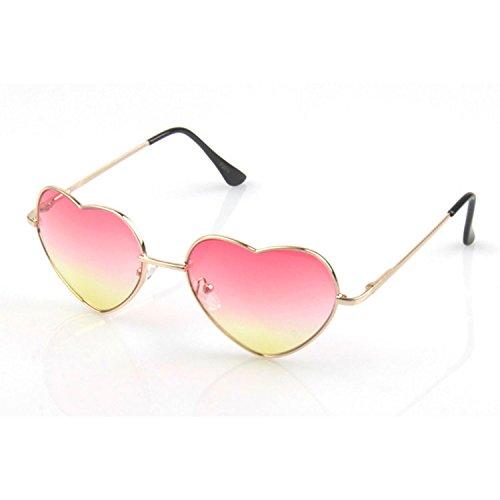 Damen Sonnenbrillen, FaschingsKostüme Damen Hippie Brille, Modische UV400 Herz Sonnenbrille / Sonnenbrille Hippie Damen Farbverlauf Sonnenbrille für Damen Damen Rosa + Gelb