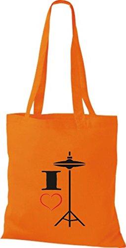 Hat Stoffbeutel Shirtstown Musik Orange love I Hi ZUX48q