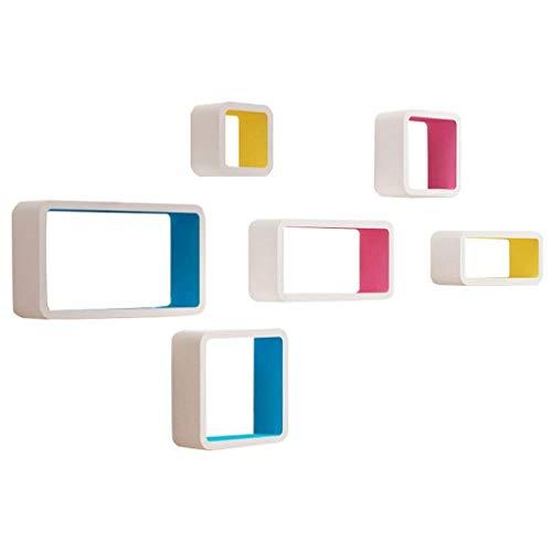 Schweberegale Wandregal Hängeregal Cube Regale Würfelregale Weiß Set von 6 als Cube Bücherregal Lagerregal Display Moderne Dekorationen Design, MDF