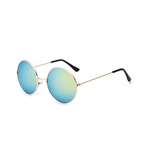 Vikimen Sportbrillen, Angeln Golfbrille,New Womens Round Sunglasses Retro Gold Silver Black Frame Unisex Eyewear Female Male Sun Glasses For Men Oculos Gafas A4066-x12