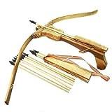 VERY100 Holzarmbrust Kinder Armbrust Bogen aus Bambus Holz mit 10 Gummi Pfeile & Köcher