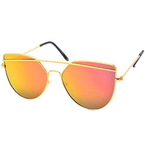 Silver Kartz Cateye Unisex Sunglasses(Wy146 65 Gold)