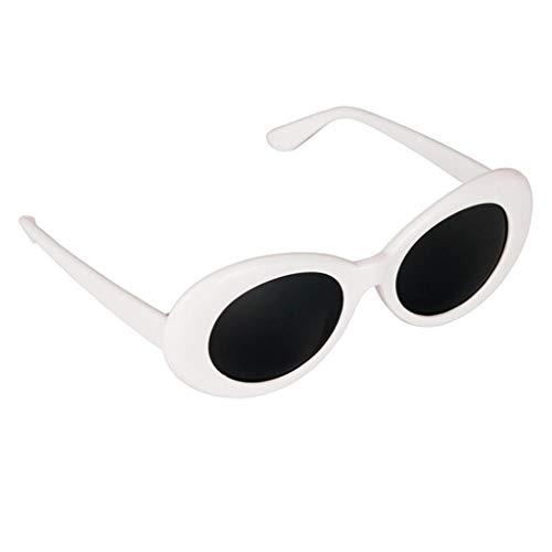 MagiDeal Retro-Schlagbrille Brille Oval Bold Mod Dick Gerahmte Sonnenbrille - Weiß