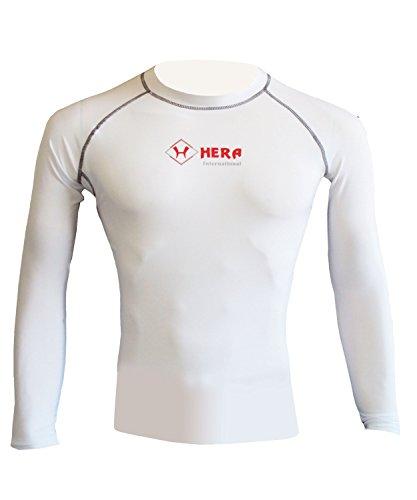 DHERA Herren Kompressions-Baselayer Full Sleeve Top Long Sleeve Shirt Sport - weiß - Größe S -